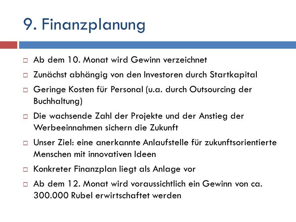 9. Finanzplanung Ab dem 10. Monat wird Gewinn verzeichnet