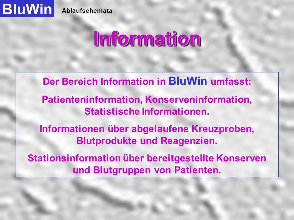 Der Bereich Information in BluWin umfasst: