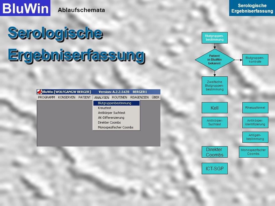 Serologische Ergebniserfassung BluWin Ablaufschemata Serologische