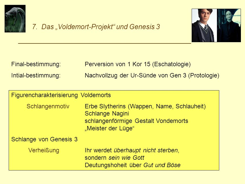"""7. Das """"Voldemort-Projekt und Genesis 3"""