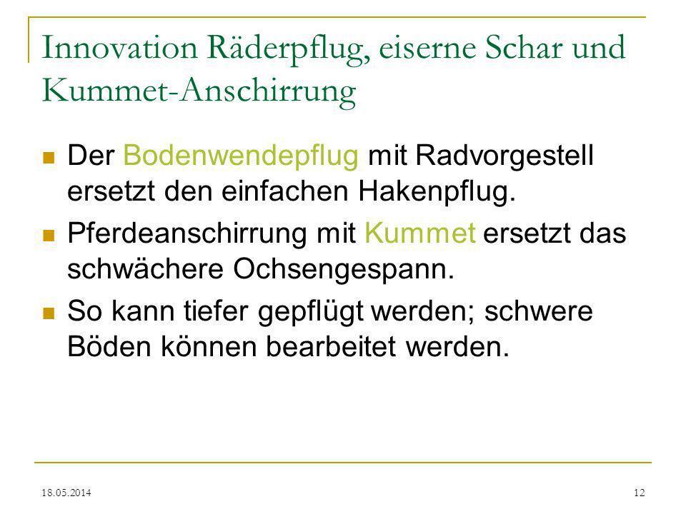 Innovation Räderpflug, eiserne Schar und Kummet-Anschirrung