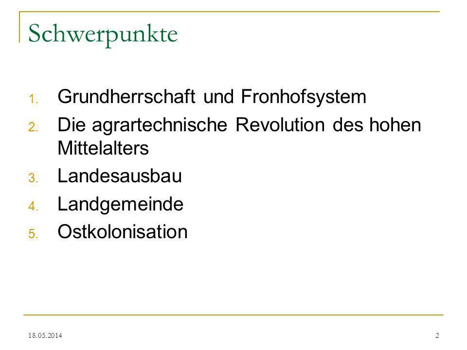 Schwerpunkte Grundherrschaft und Fronhofsystem