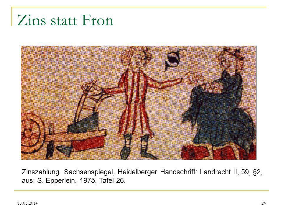 Zins statt Fron Zinszahlung. Sachsenspiegel, Heidelberger Handschrift: Landrecht II, 59, §2, aus: S. Epperlein, 1975, Tafel 26.