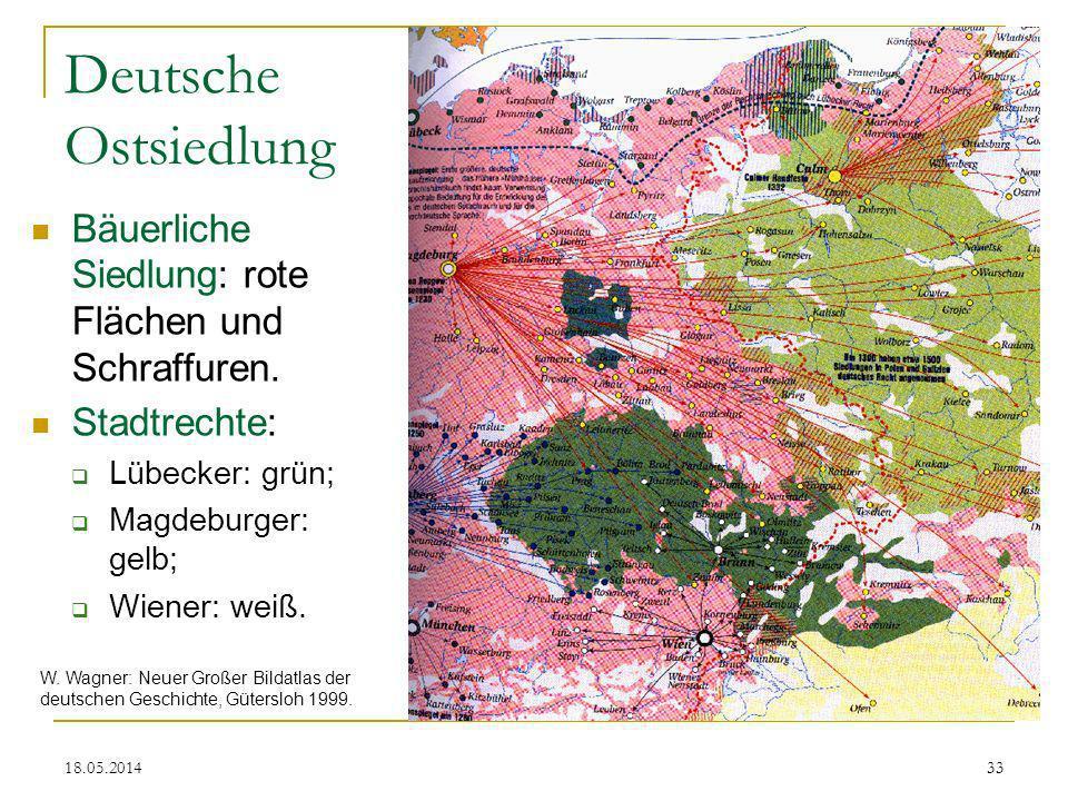 Deutsche Ostsiedlung Bäuerliche Siedlung: rote Flächen und Schraffuren. Stadtrechte: Lübecker: grün;