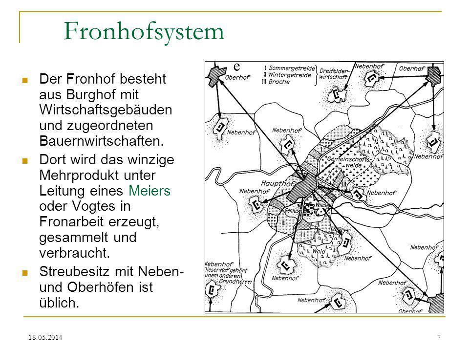 Fronhofsystem e. Der Fronhof besteht aus Burghof mit Wirtschaftsgebäuden und zugeordneten Bauernwirtschaften.