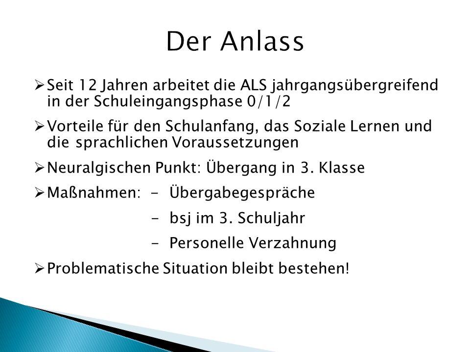 Der Anlass Seit 12 Jahren arbeitet die ALS jahrgangsübergreifend in der Schuleingangsphase 0/1/2.