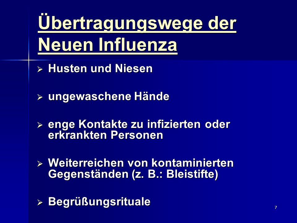 Übertragungswege der Neuen Influenza