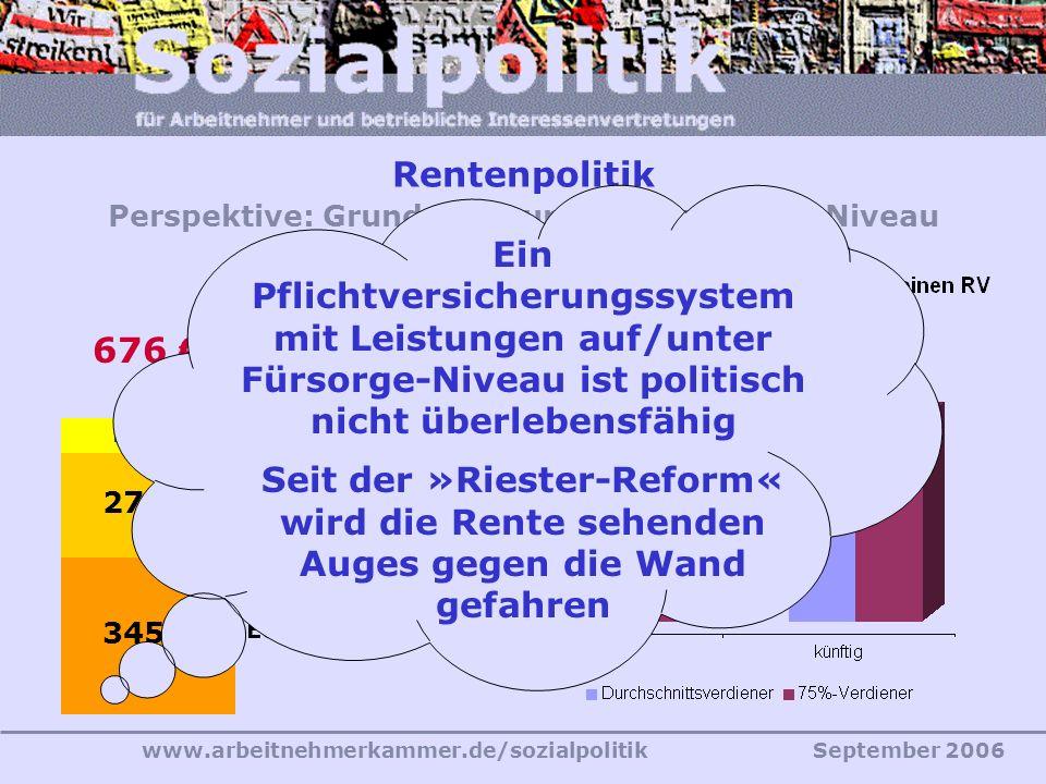 Rentenpolitik Perspektive: Grundsicherungs- (Fürsorge-) Niveau
