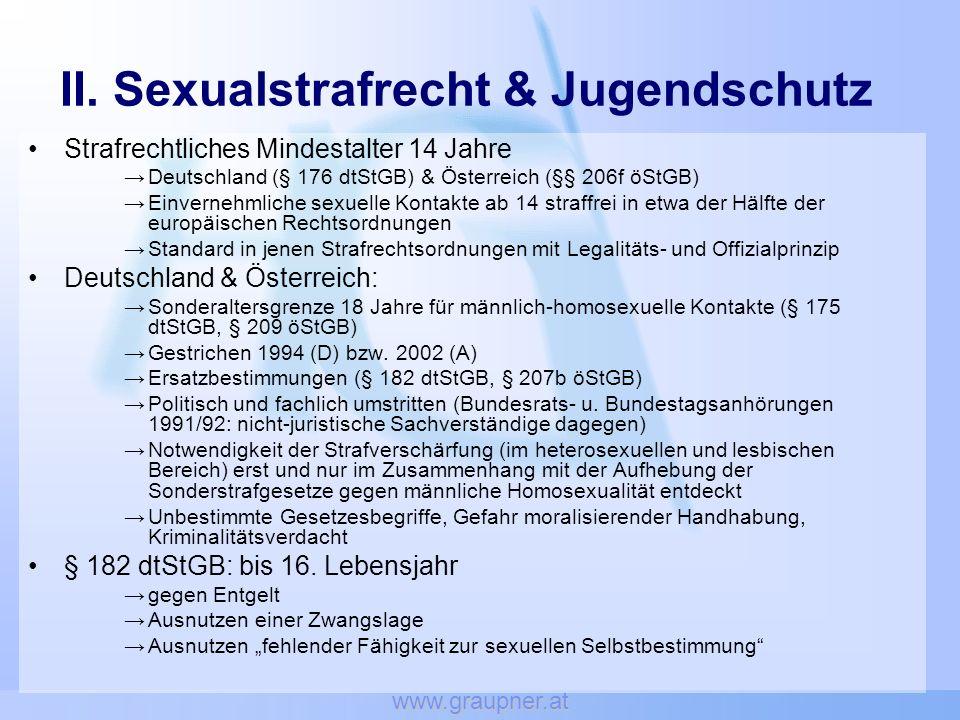 II. Sexualstrafrecht & Jugendschutz