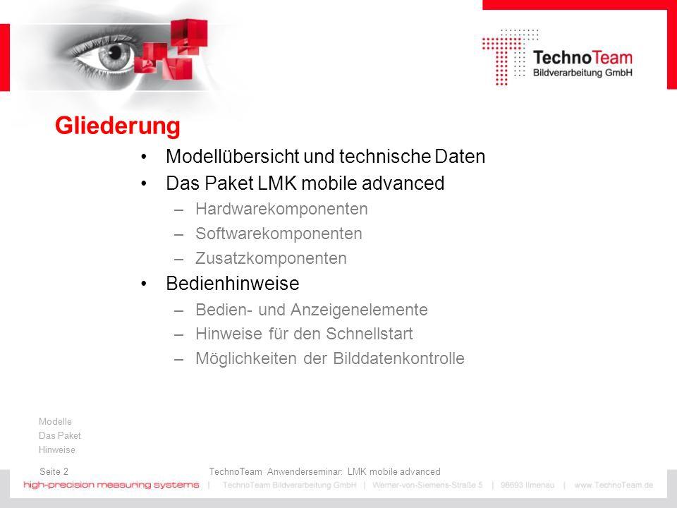 Gliederung Modellübersicht und technische Daten