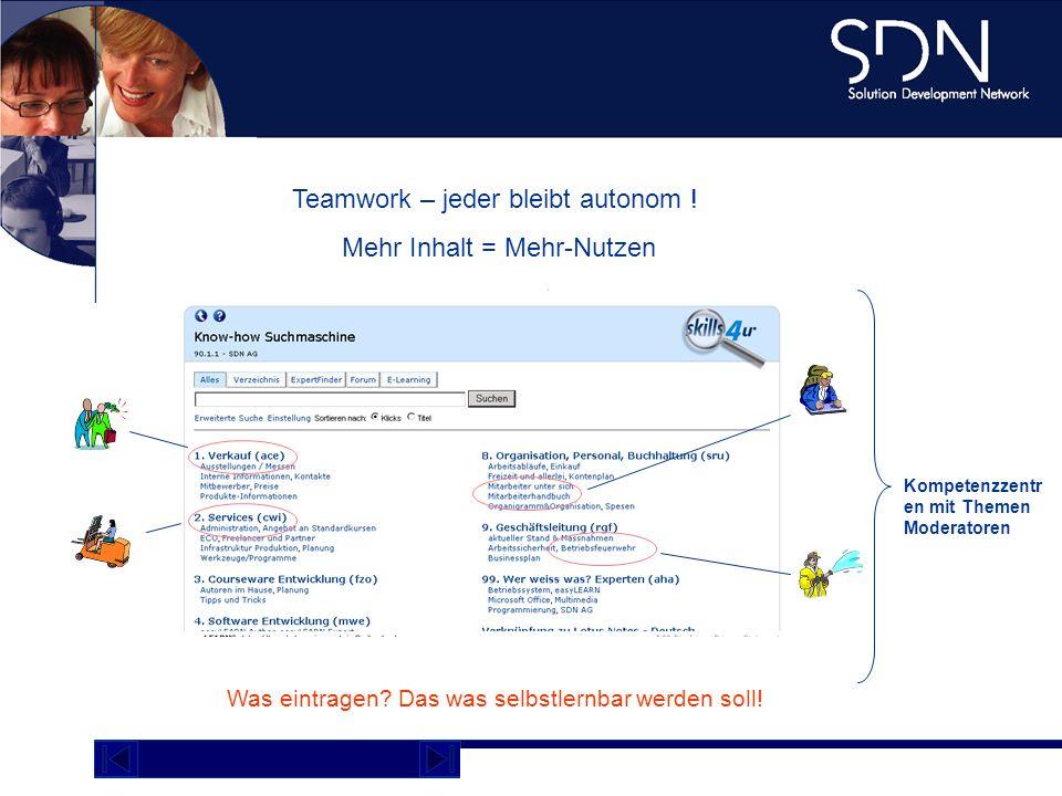 Kompetenzzentren Teamwork – jeder bleibt autonom !