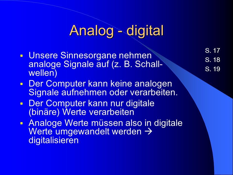 Analog - digital S. 17. S. 18. S. 19. Unsere Sinnesorgane nehmen analoge Signale auf (z. B. Schall-wellen)
