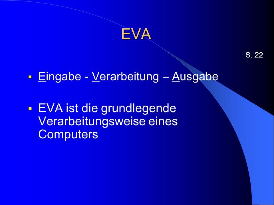 EVA EVA ist die grundlegende Verarbeitungsweise eines Computers