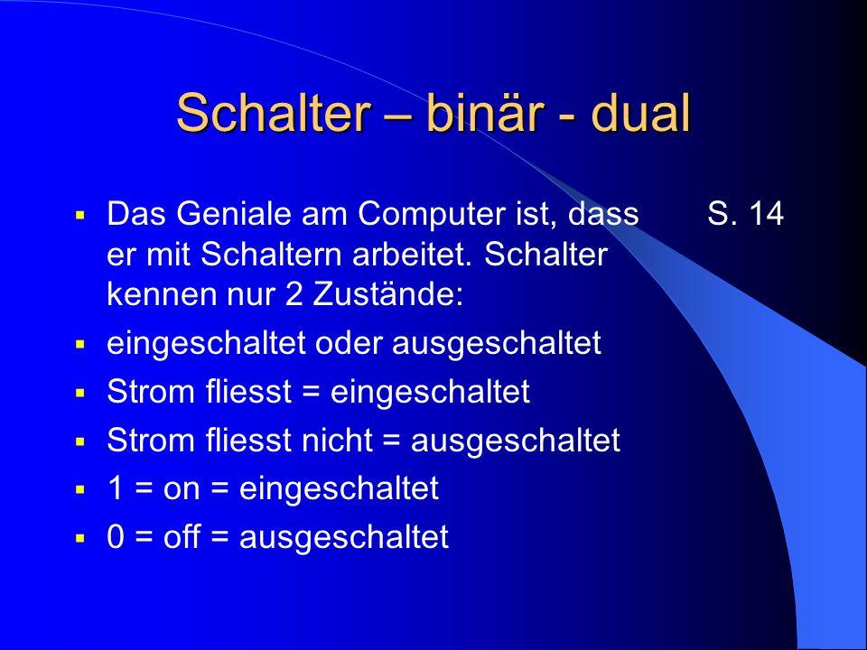 Schalter – binär - dual Das Geniale am Computer ist, dass er mit Schaltern arbeitet. Schalter kennen nur 2 Zustände: