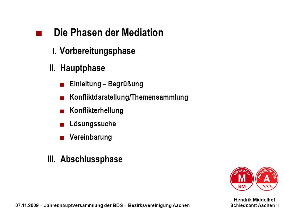 Die Phasen der Mediation