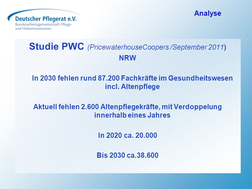 Studie PWC (PricewaterhouseCoopers /September 2011)
