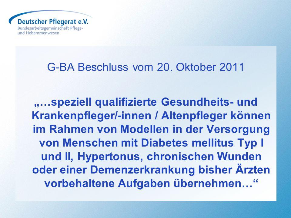 G-BA Beschluss vom 20. Oktober 2011