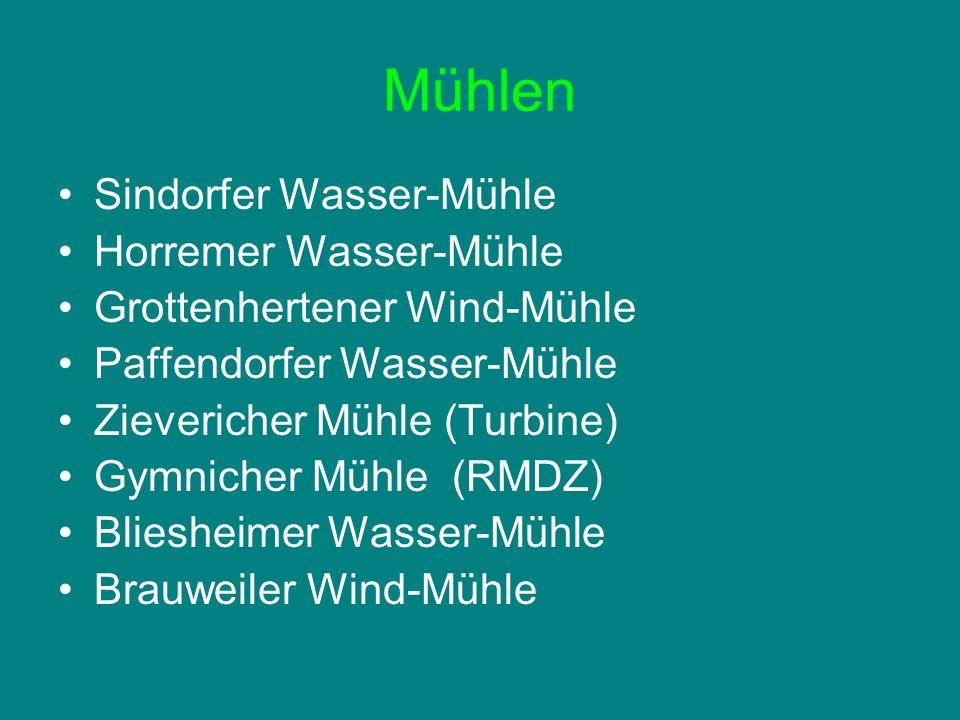 Mühlen Sindorfer Wasser-Mühle Horremer Wasser-Mühle