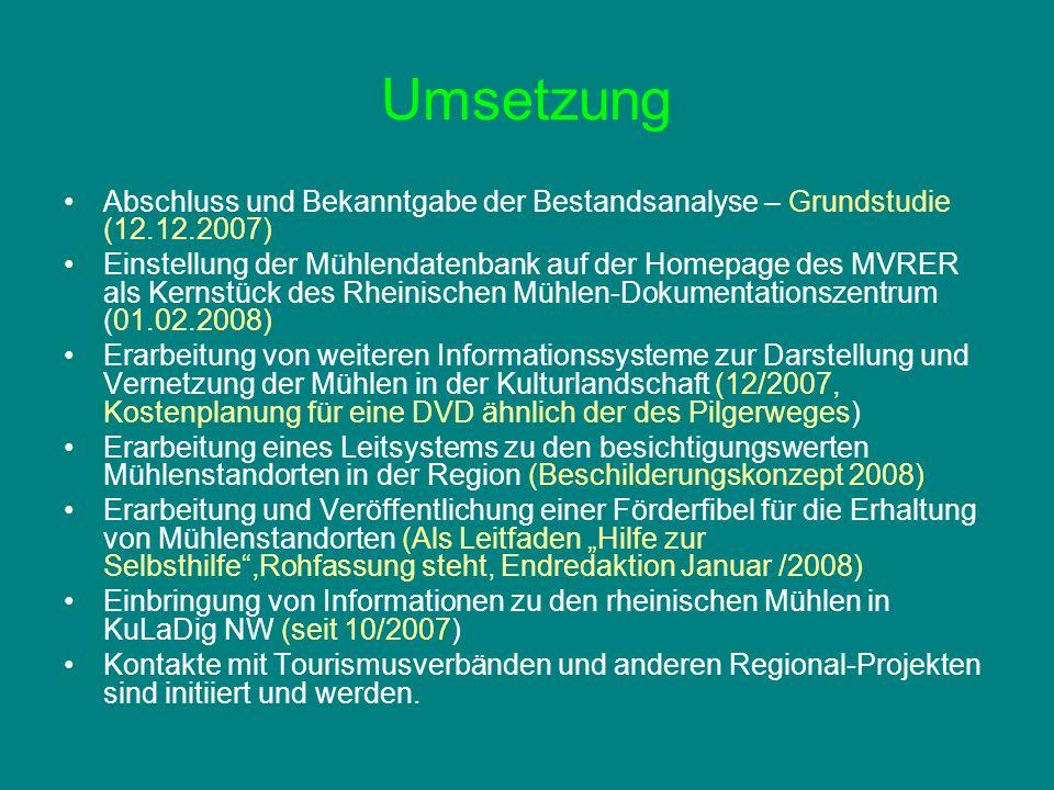Umsetzung Abschluss und Bekanntgabe der Bestandsanalyse – Grundstudie (12.12.2007)