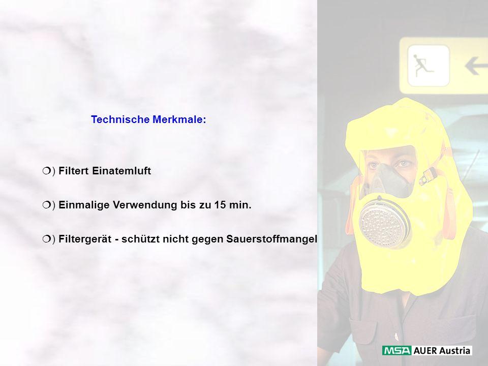 Technische Merkmale: ) Filtert Einatemluft. ) Einmalige Verwendung bis zu 15 min.