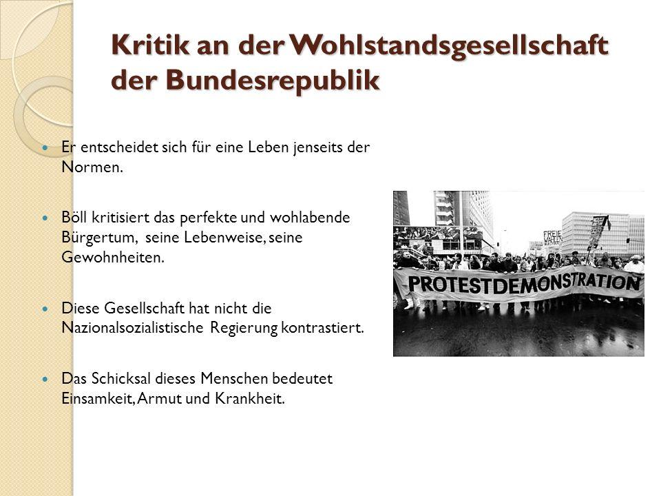 Kritik an der Wohlstandsgesellschaft der Bundesrepublik