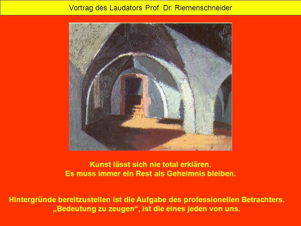 Vortrag des Laudators Prof. Dr. Riemenschneider