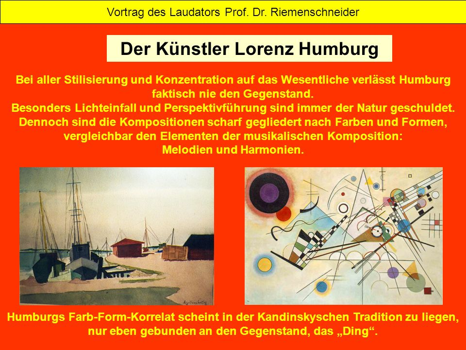 Der Künstler Lorenz Humburg Melodien und Harmonien.