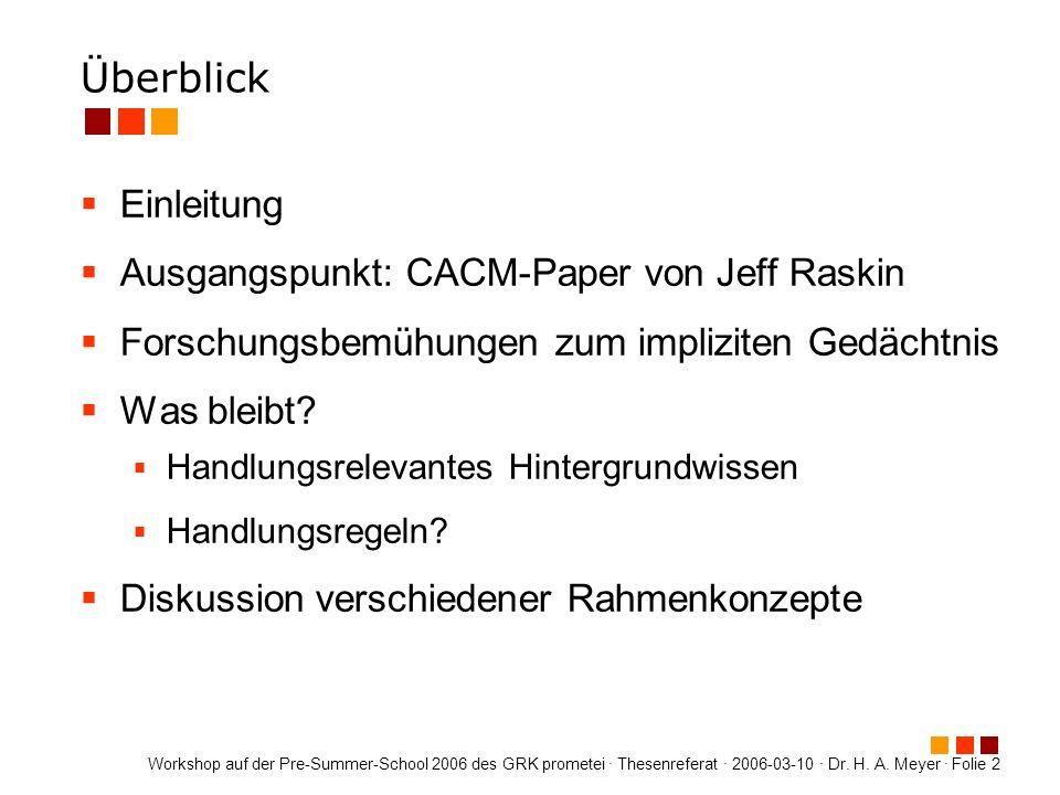 Überblick Einleitung Ausgangspunkt: CACM-Paper von Jeff Raskin