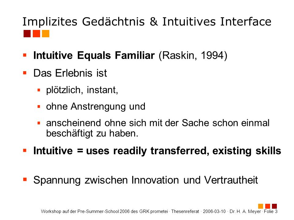 Implizites Gedächtnis & Intuitives Interface