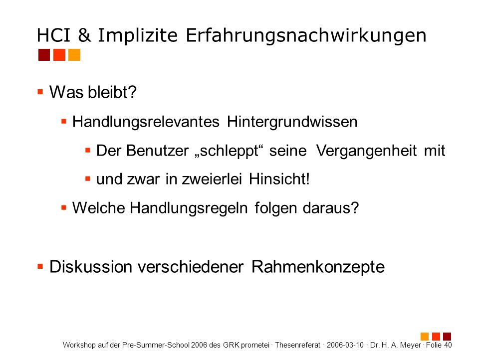 HCI & Implizite Erfahrungsnachwirkungen