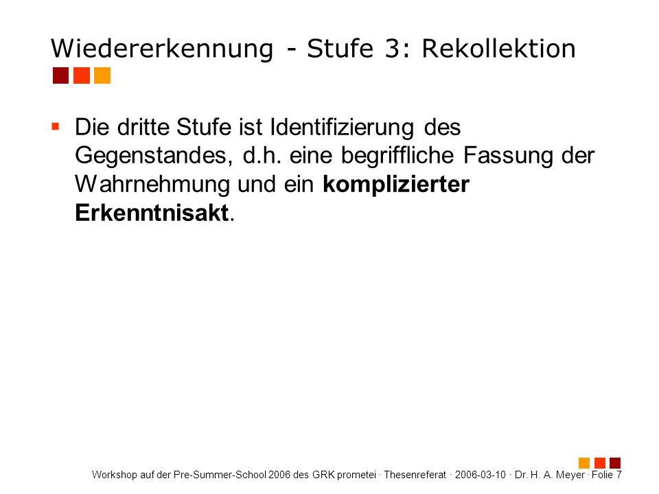 Wiedererkennung - Stufe 3: Rekollektion
