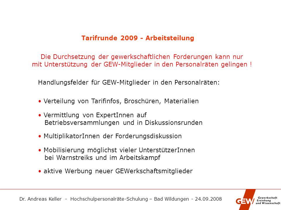 Tarifrunde 2009 - Arbeitsteilung