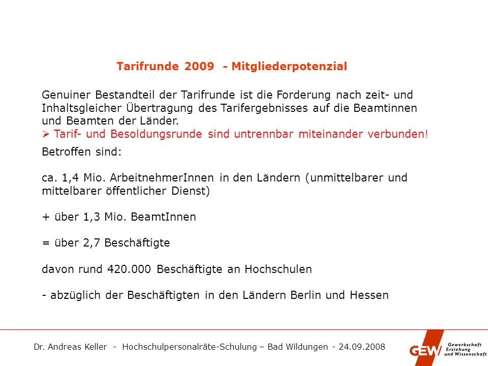 Tarifrunde 2009 - Mitgliederpotenzial