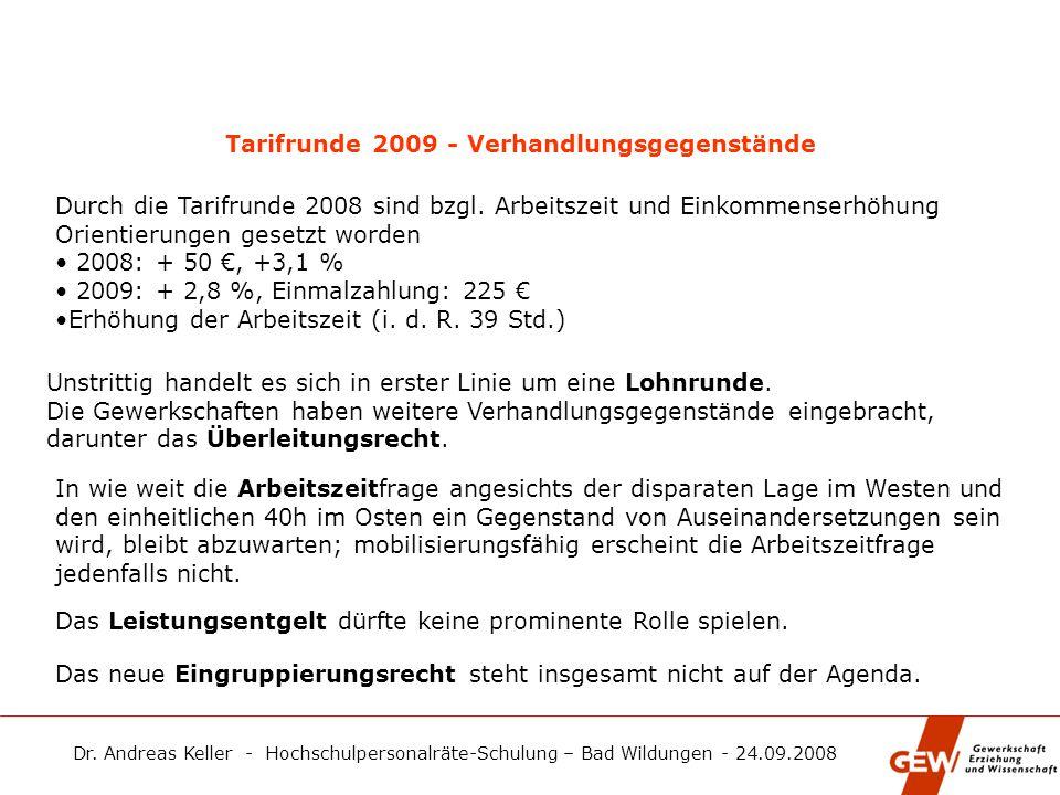 Tarifrunde 2009 - Verhandlungsgegenstände