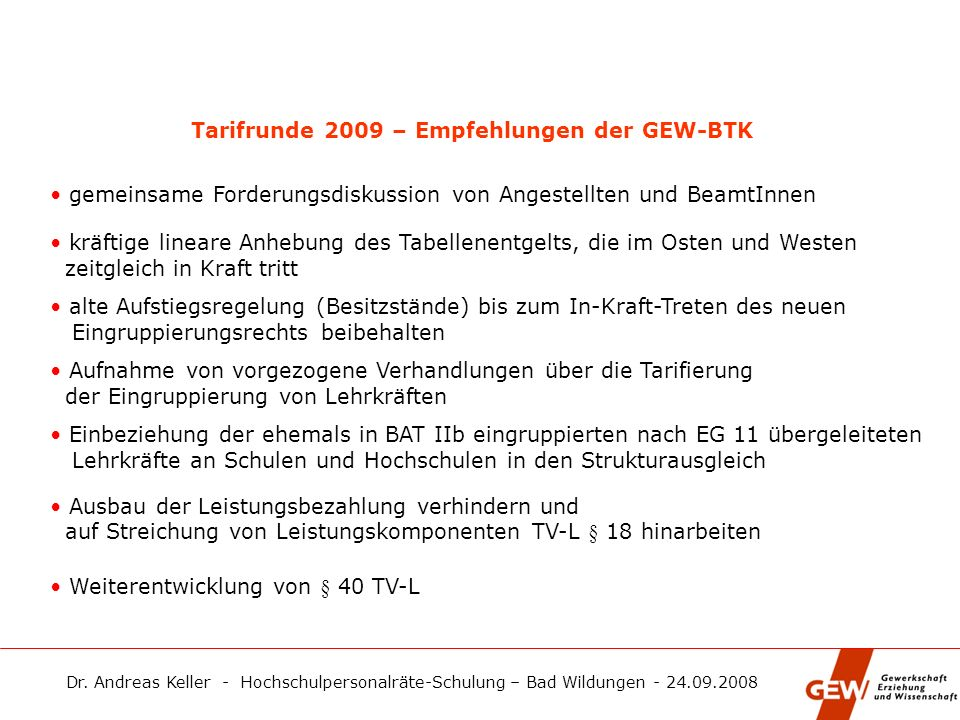 Tarifrunde 2009 – Empfehlungen der GEW-BTK