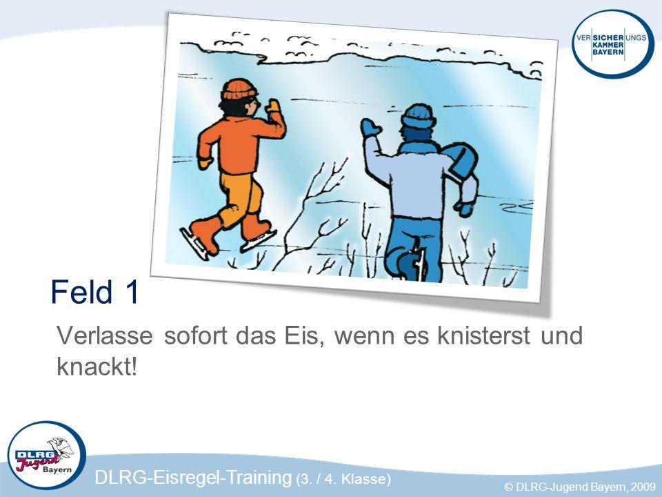 Feld 1 Verlasse sofort das Eis, wenn es knisterst und knackt!