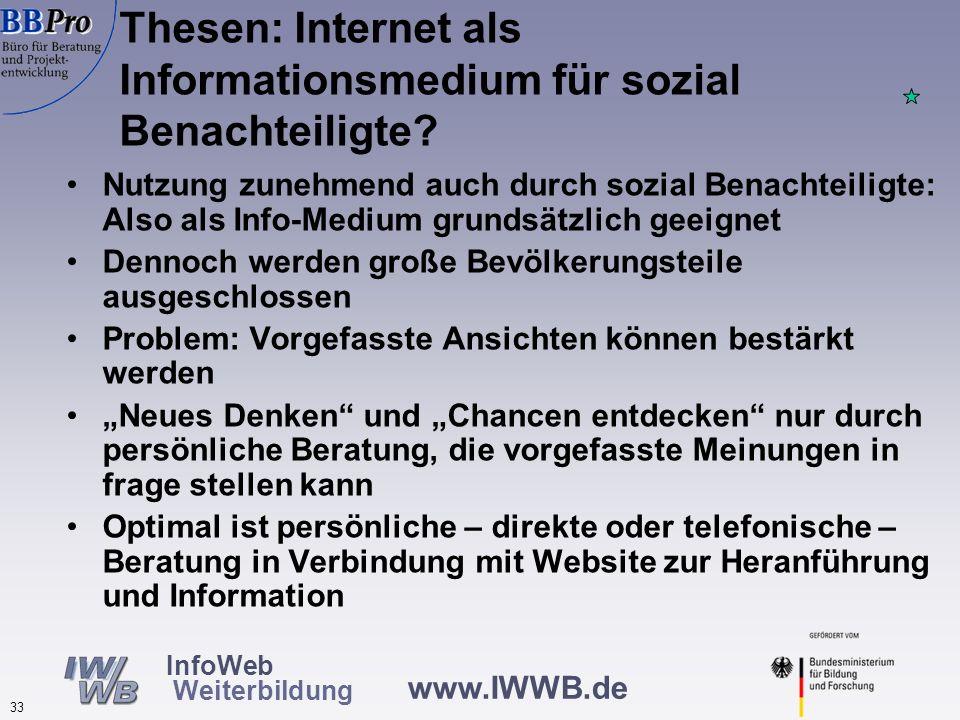 Internet als Informationsmedium für sozial Benachteiligte Beispiele