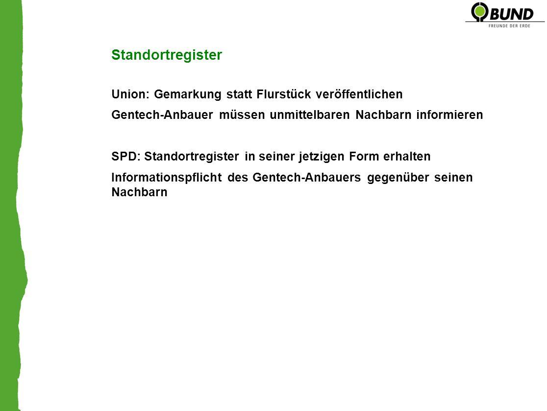 Standortregister Union: Gemarkung statt Flurstück veröffentlichen