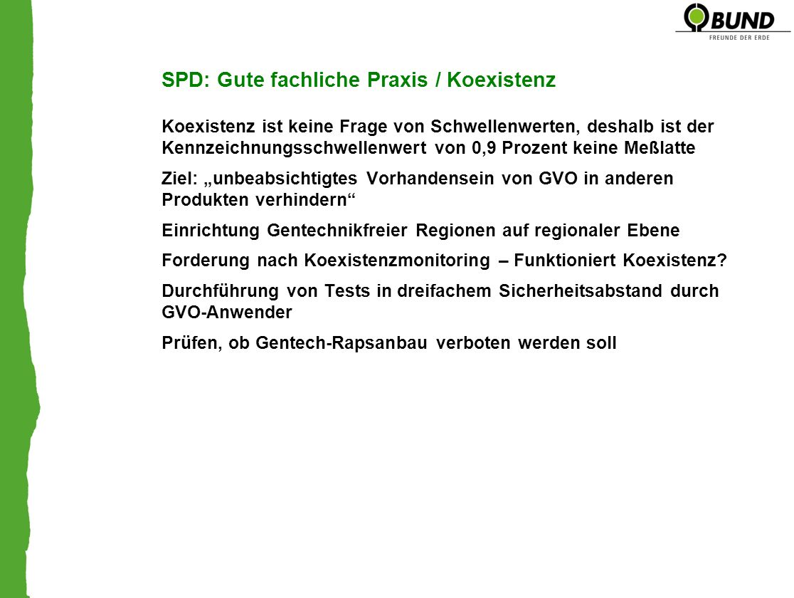 SPD: Gute fachliche Praxis / Koexistenz