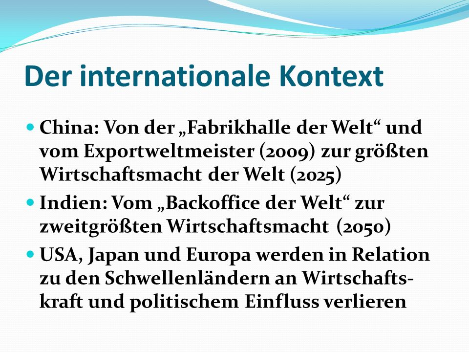Der internationale Kontext