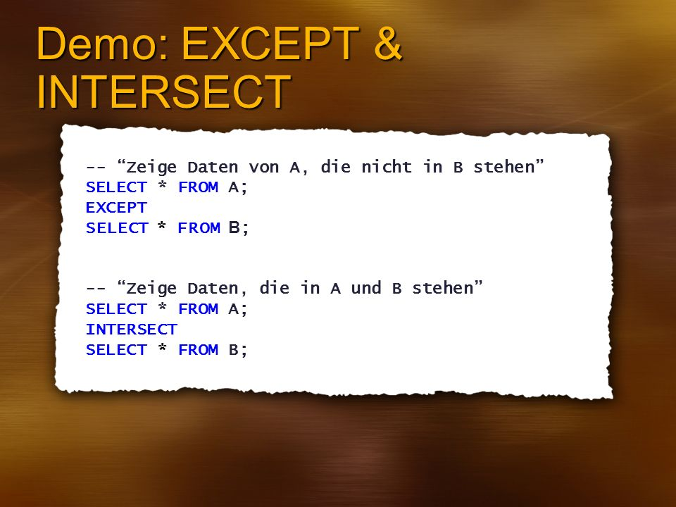Demo: EXCEPT & INTERSECT