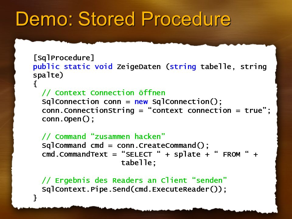 Demo: Stored Procedure