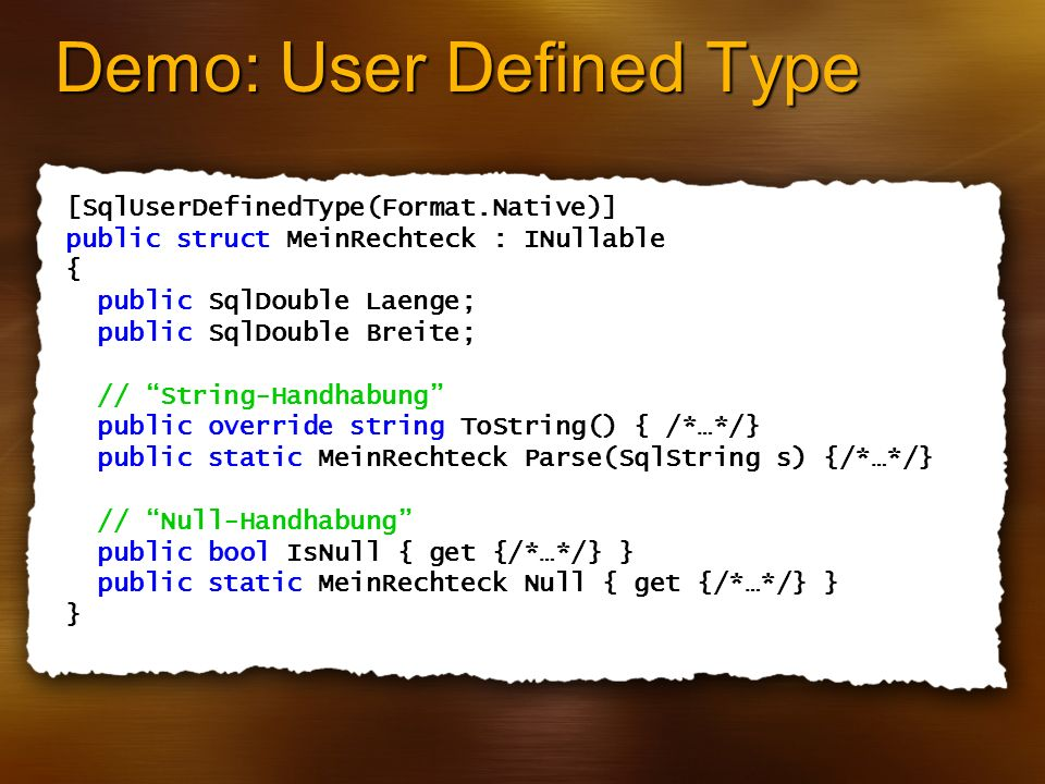 Demo: User Defined Type