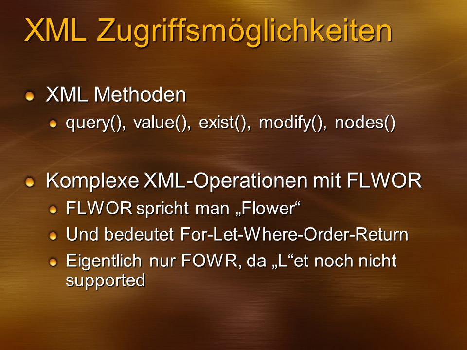 XML Zugriffsmöglichkeiten