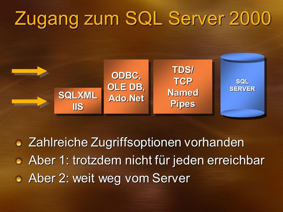 Zugang zum SQL Server 2000 Zahlreiche Zugriffsoptionen vorhanden
