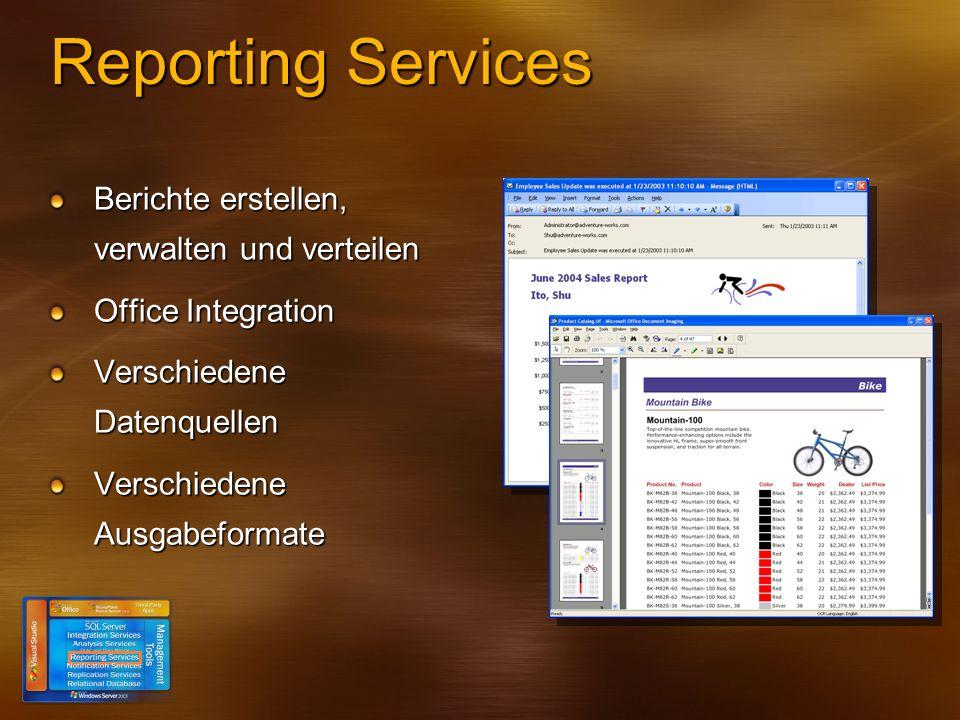 Reporting Services Berichte erstellen, verwalten und verteilen