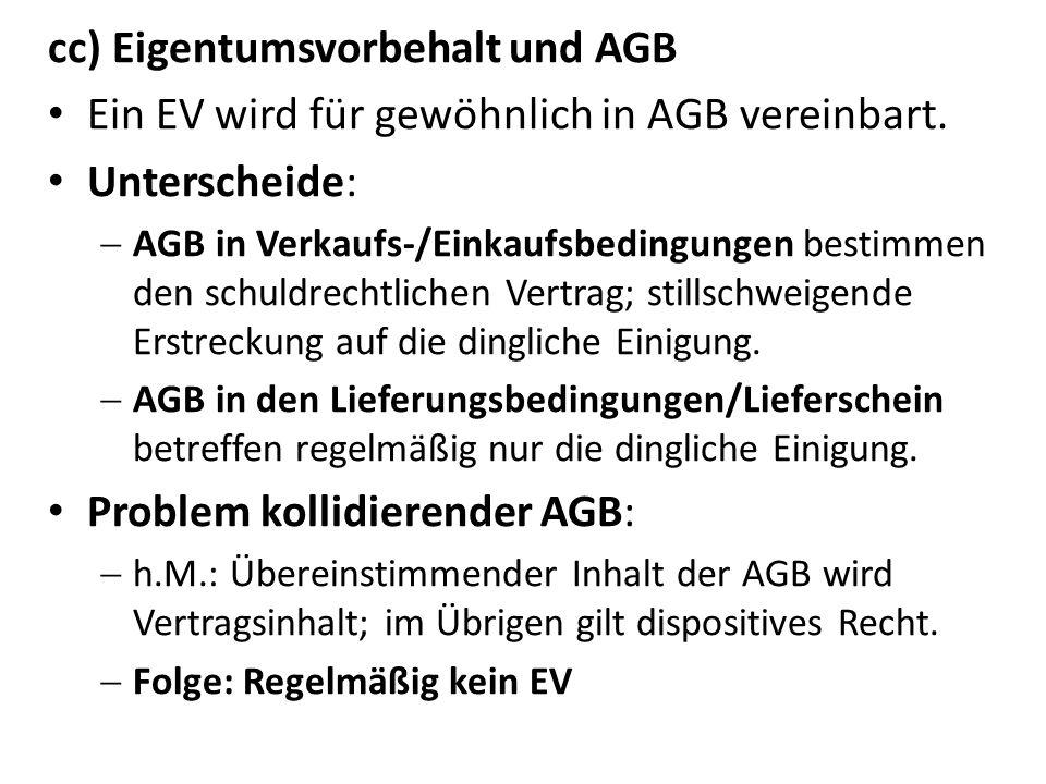cc) Eigentumsvorbehalt und AGB