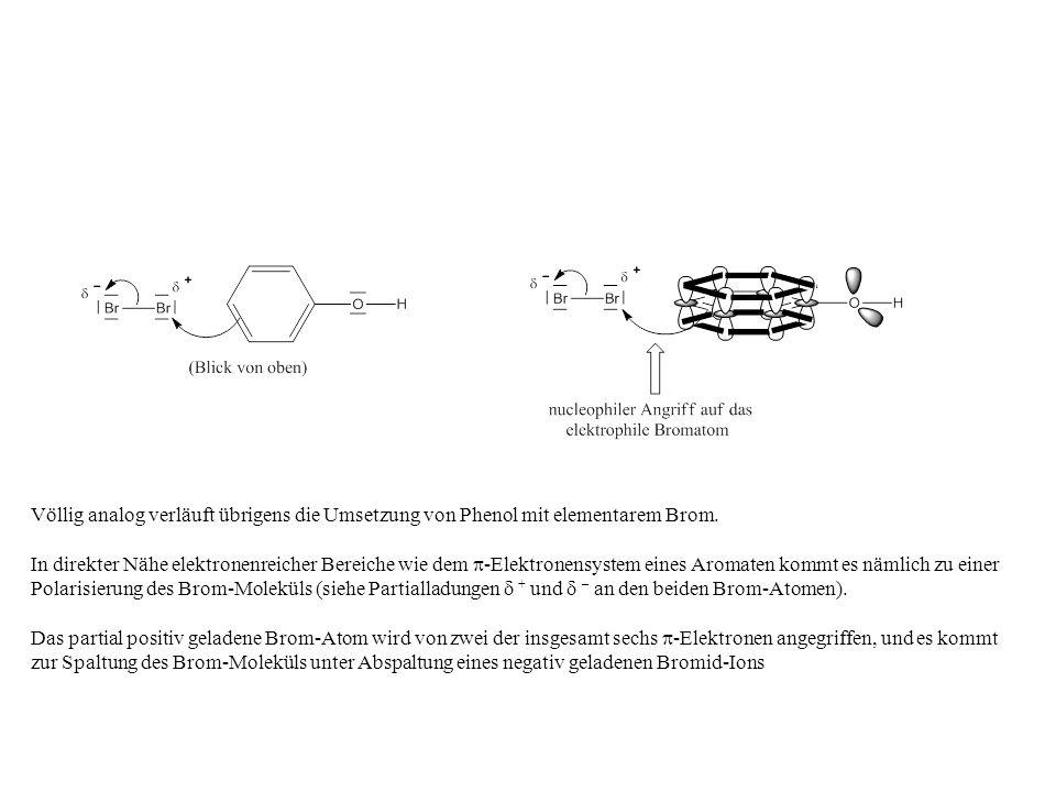 Völlig analog verläuft übrigens die Umsetzung von Phenol mit elementarem Brom.