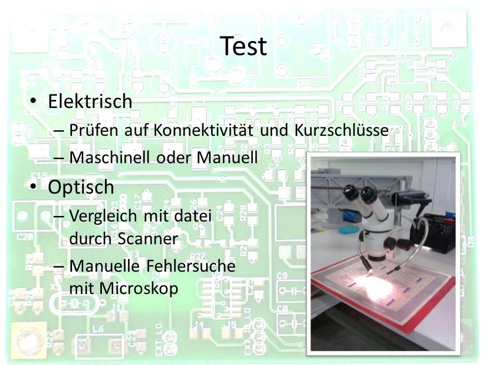 Test Elektrisch Optisch Prüfen auf Konnektivität und Kurzschlüsse