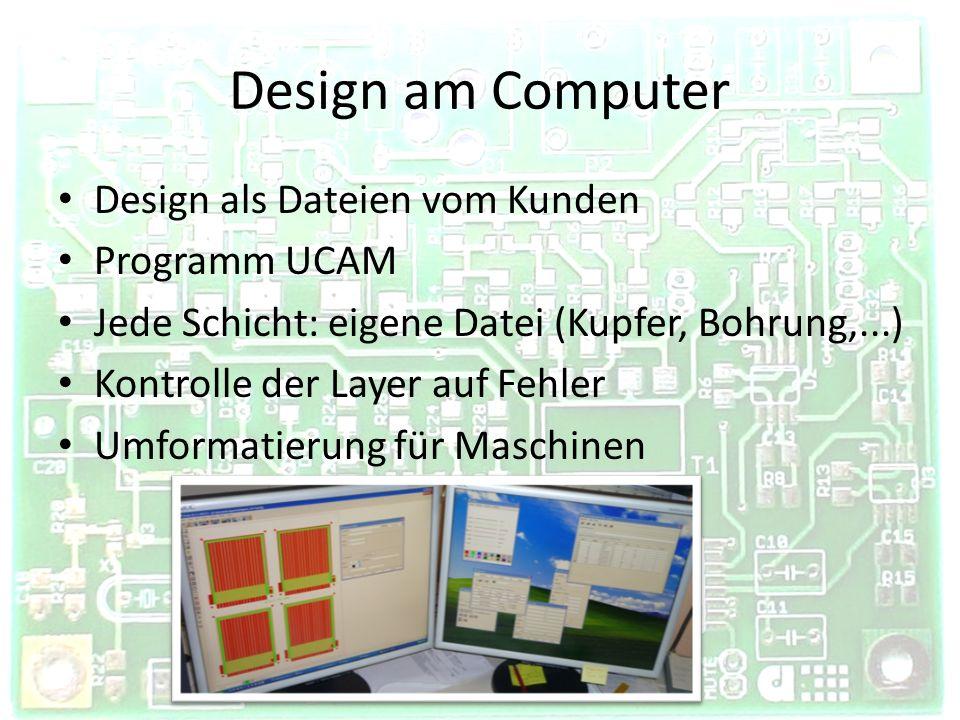 Design am Computer Design als Dateien vom Kunden Programm UCAM